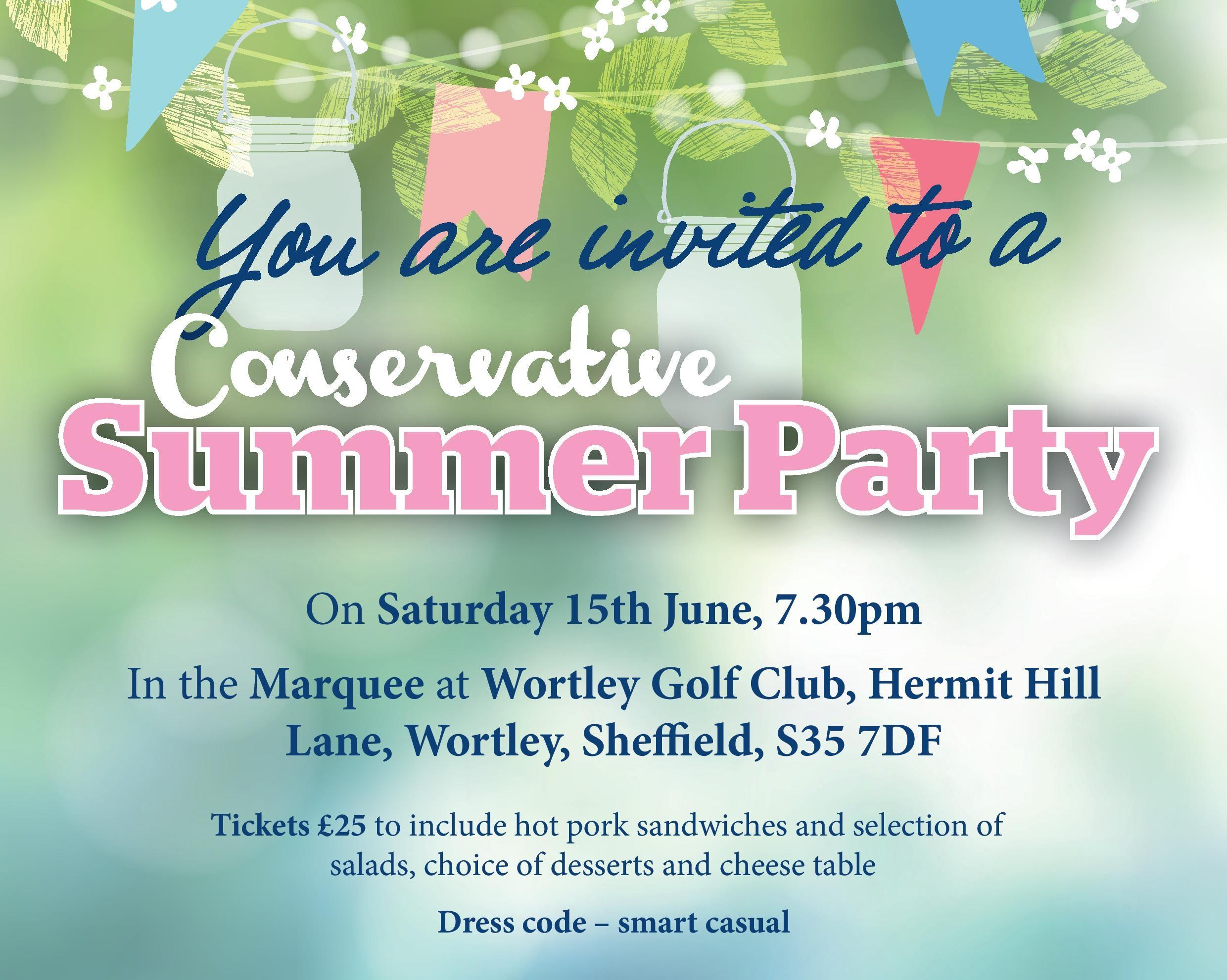 Conservative summer party on Saturday 15 June 2019
